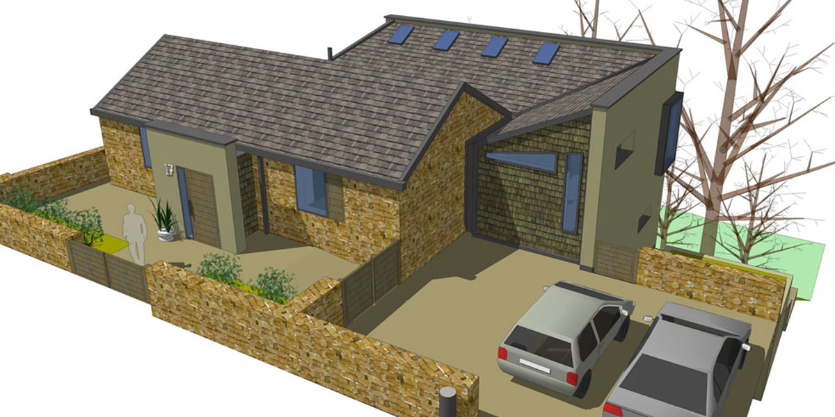 Extension to a modest stone bungalow in this South Yorkshire conservation area