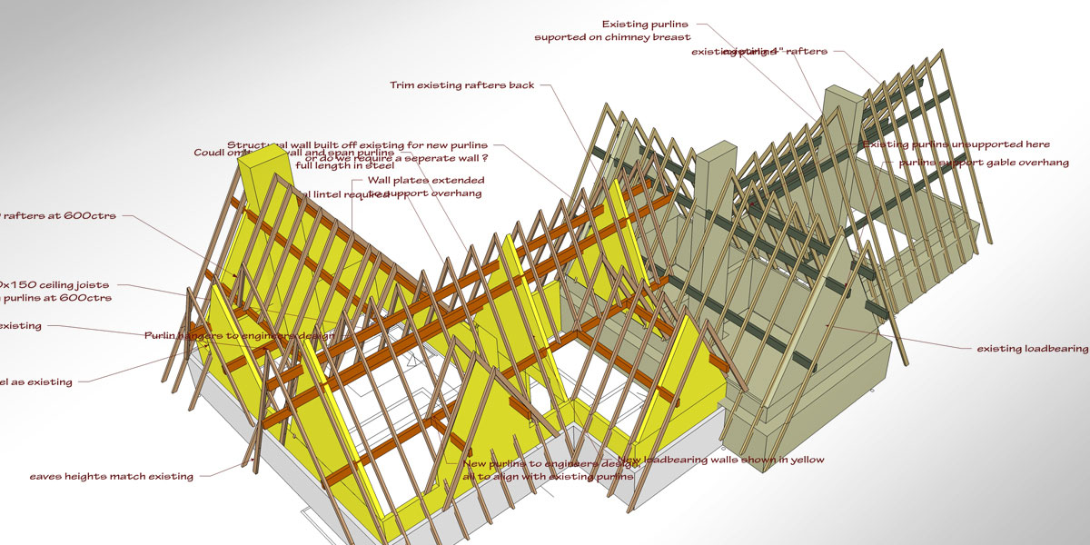 Structural drawing for Bruce Lodge roof