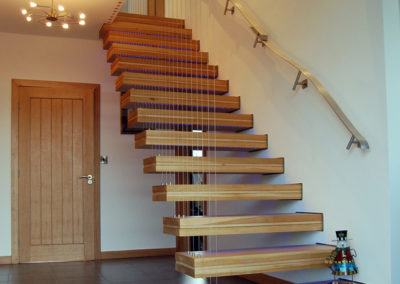 Bespoke sycamore and oak staircase at Highfield
